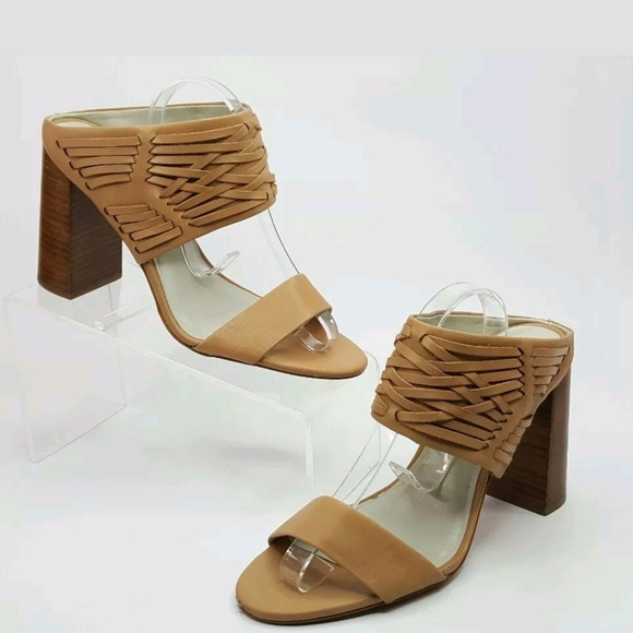 1. State Shoes - 1 state wooven leather nude rexana sandal heel 9.5 48c2fec9d
